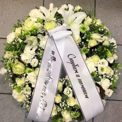 Matusepärg valged-ja-rohelised lilled